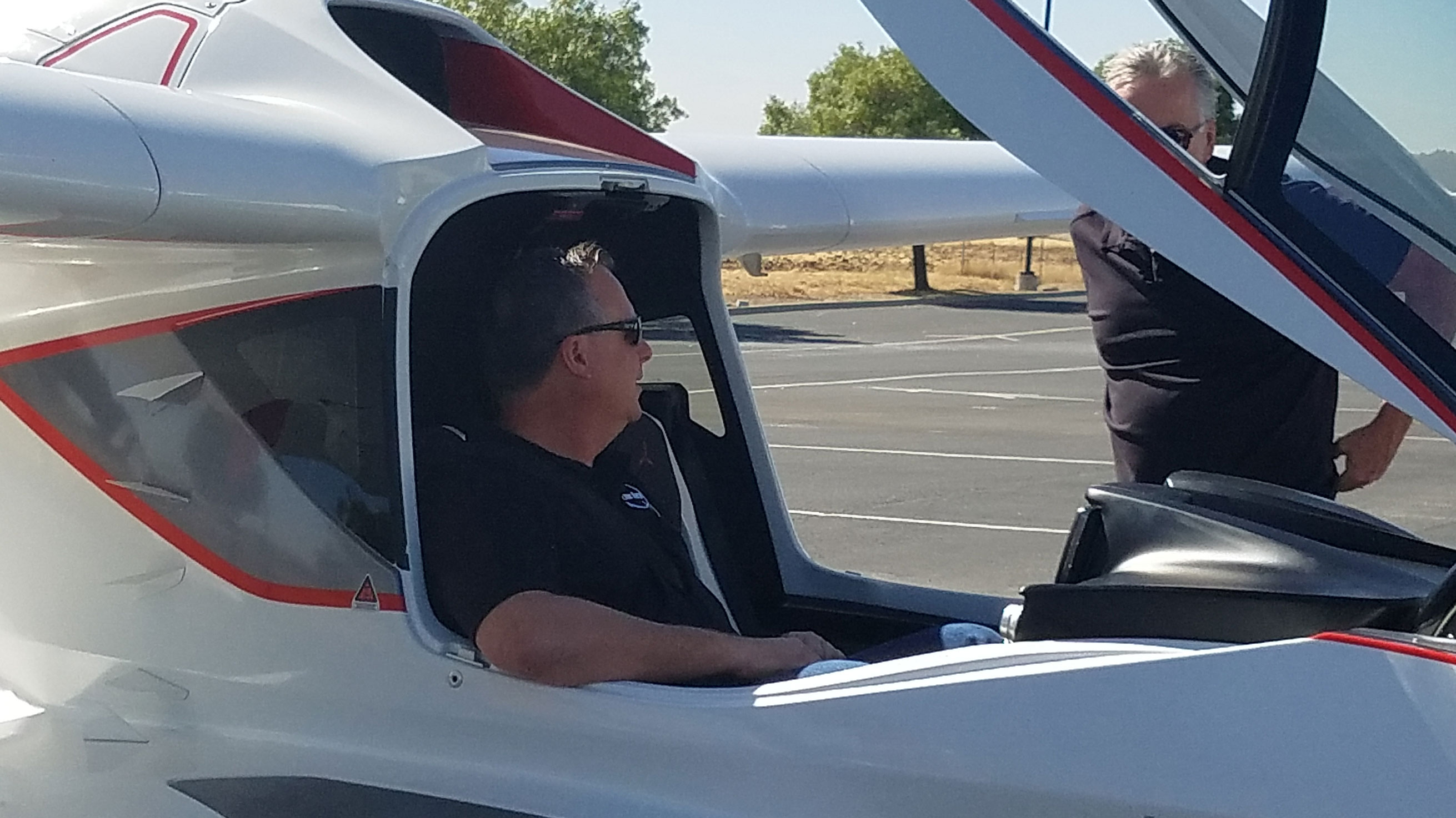 man inside ICON Aircraft plane
